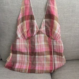 American Eagle Outfitters Pink Plaid Halter Top